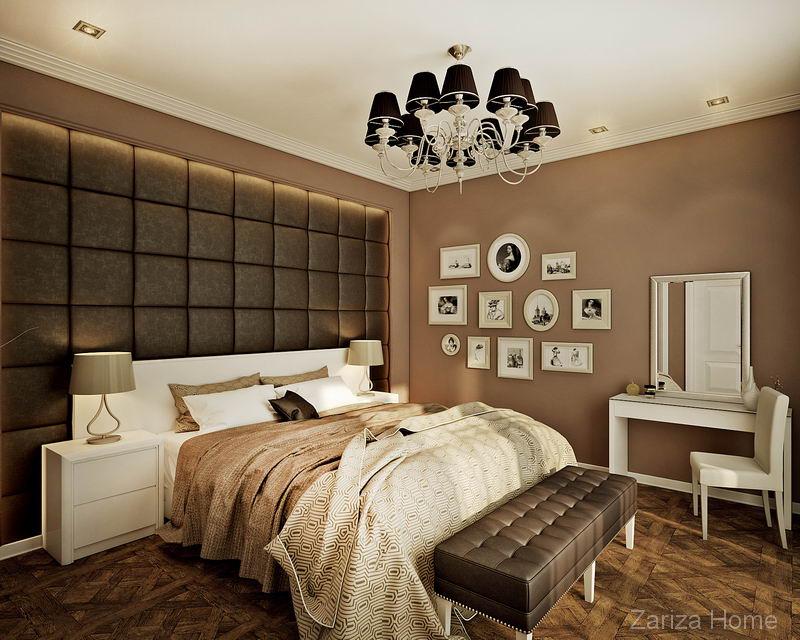 спальня в коричневом и с панелями