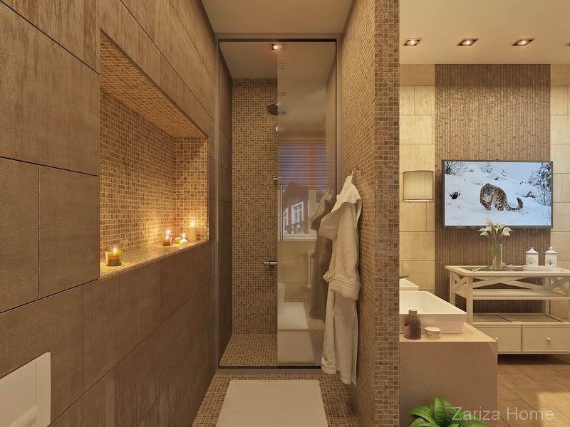 ванная комната с мозаикой и круглой ванной