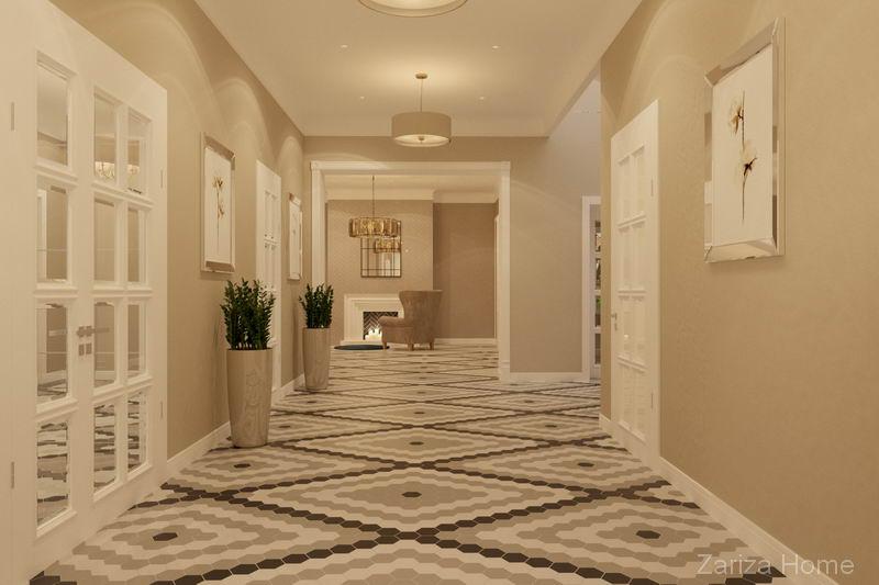 холл с плиткой ромбами гексагоны