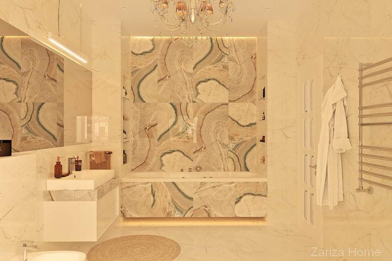 ванная с плиткой под оникс