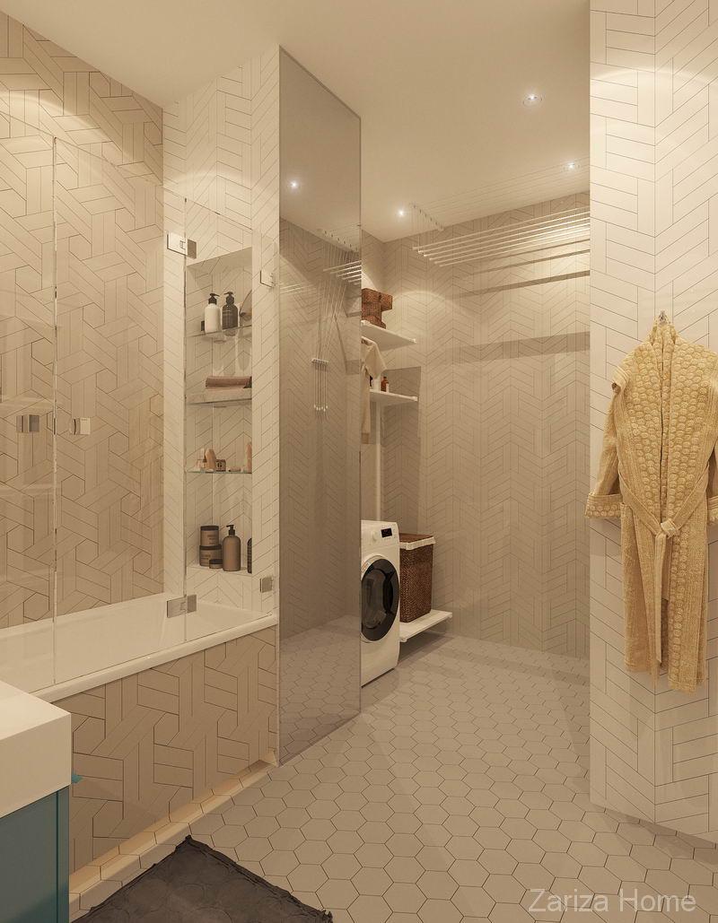 ванная с нишей под шампуни