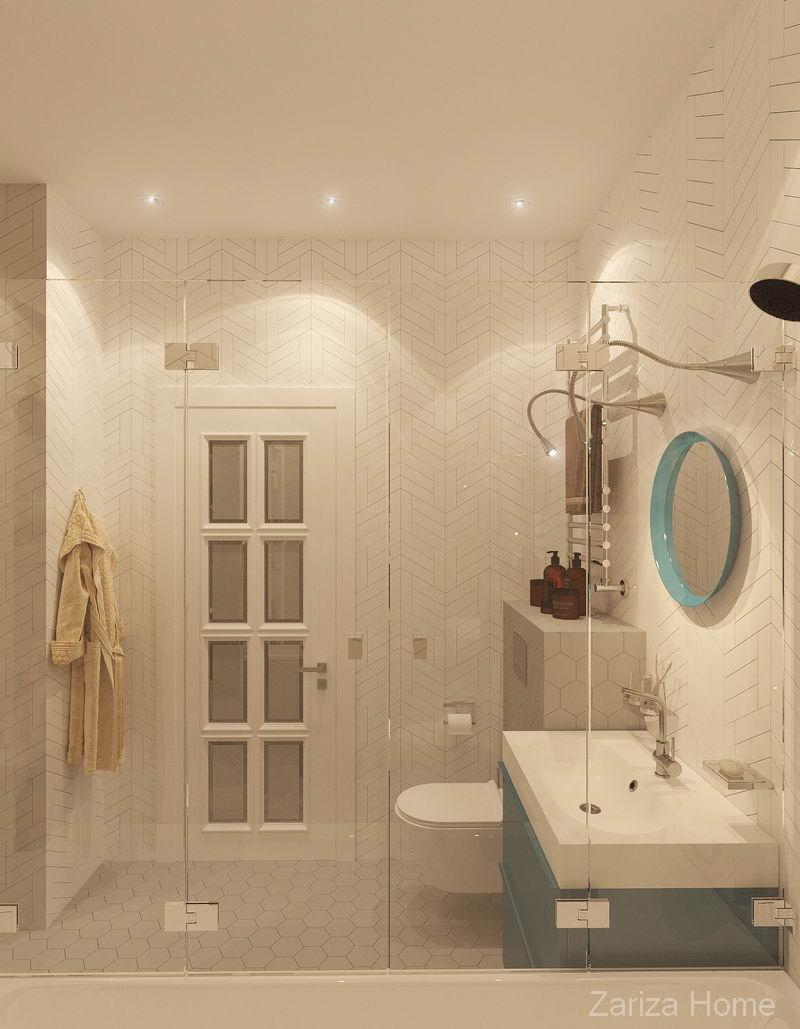 ванная комната с берюзовым зеркалом