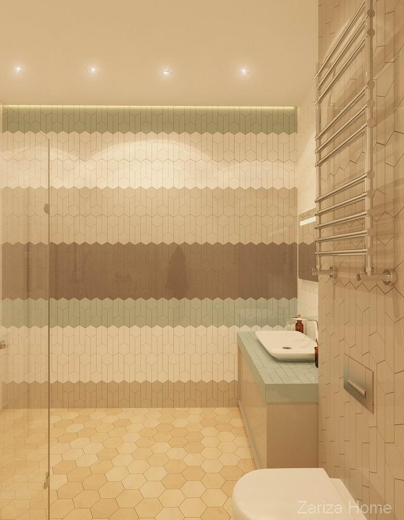ванная с полосами на плитке