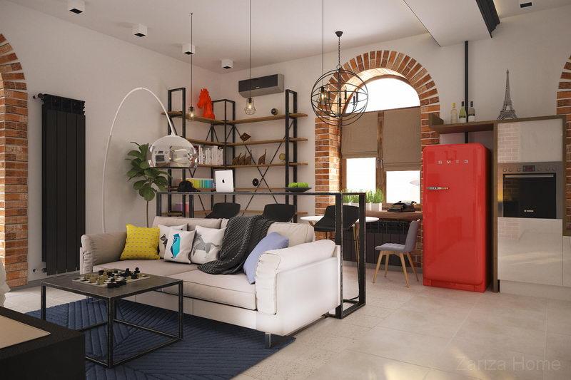 дизайн гостиной в стиле лофт и красным холодильником