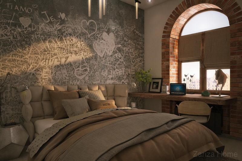 спальня с арочным окном и фотопанно лофт