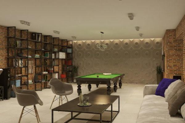 бильярдная комната в подвале загородного дома