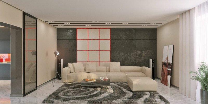 фото гостиной стена с подсветкой