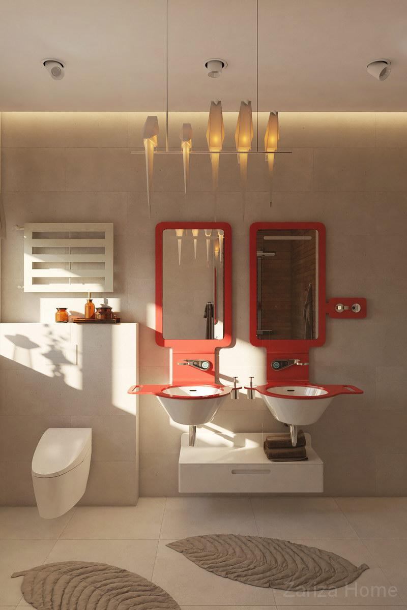 ванная с красивой мебелью в современном стиле