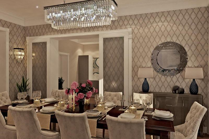 гостиная-столовая в стиле американской классики