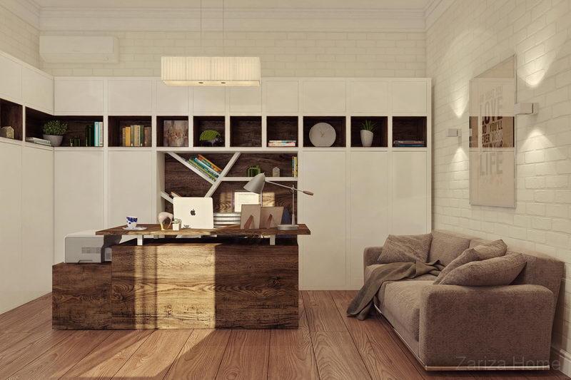 кабинет со стеллажом