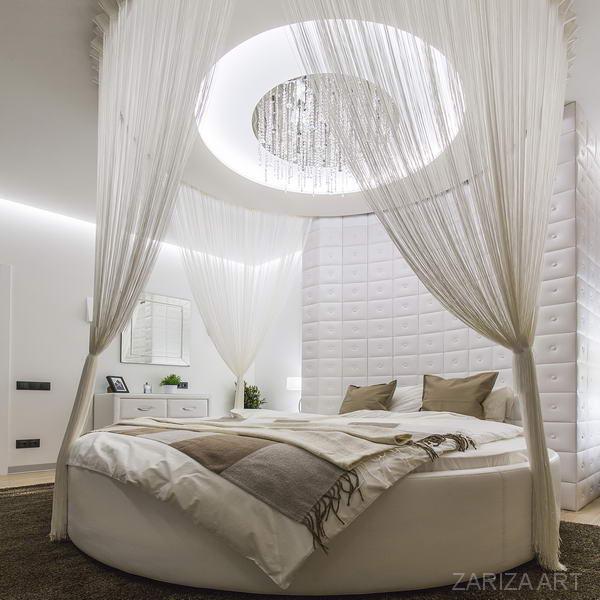круглая кровать в интерьера под ключ