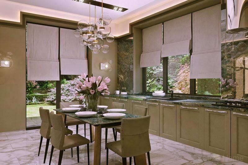 кухня в частном доме без верхних шкафов