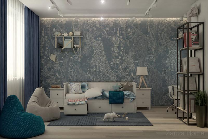 детская комната в синем исполнении с картой и белой мебелью