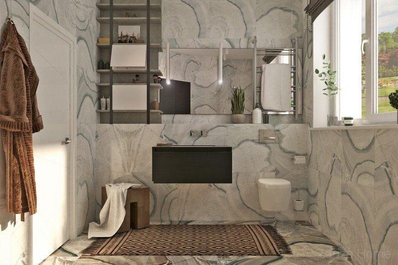 ванная комната с плиткой под мрамор белого цвета