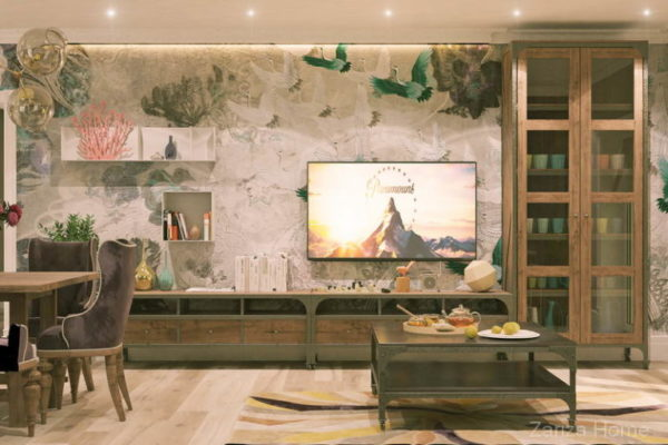 частный дом и стена с телевизором