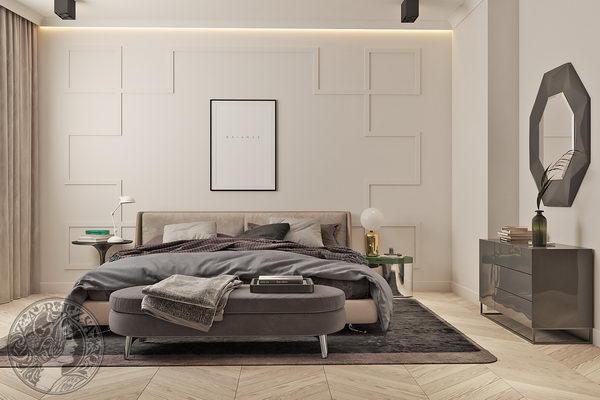 оформление стены в спальне молдигами orac decor модерн