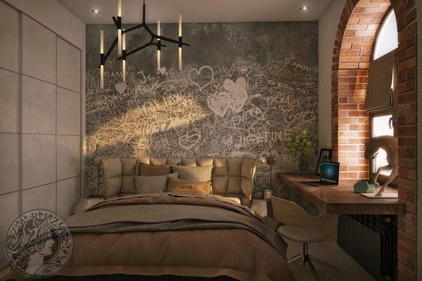 спальня в квартире в стиле лофт