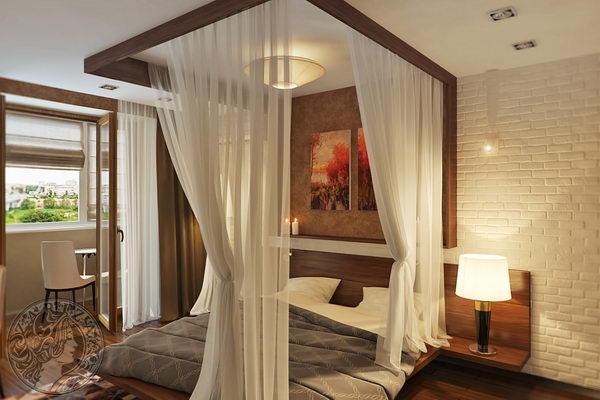 спальня с кроватью с балдахином