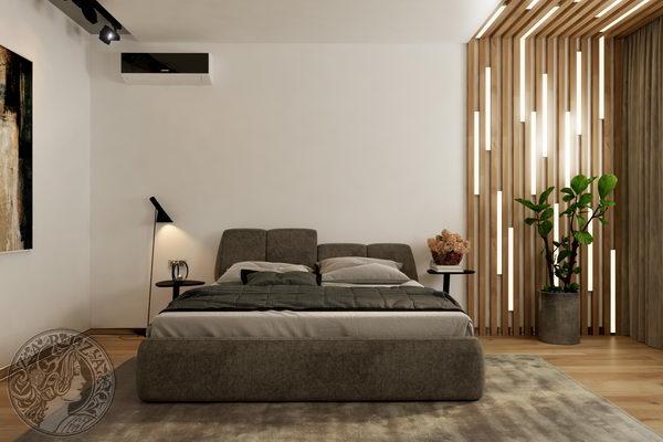 спальня в стиле минимализм с брусками из дуба и линейными светильниками