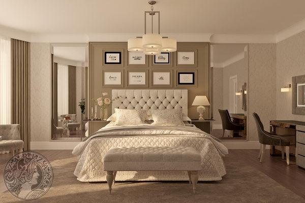 классические молдинги на стене в спальной комнате