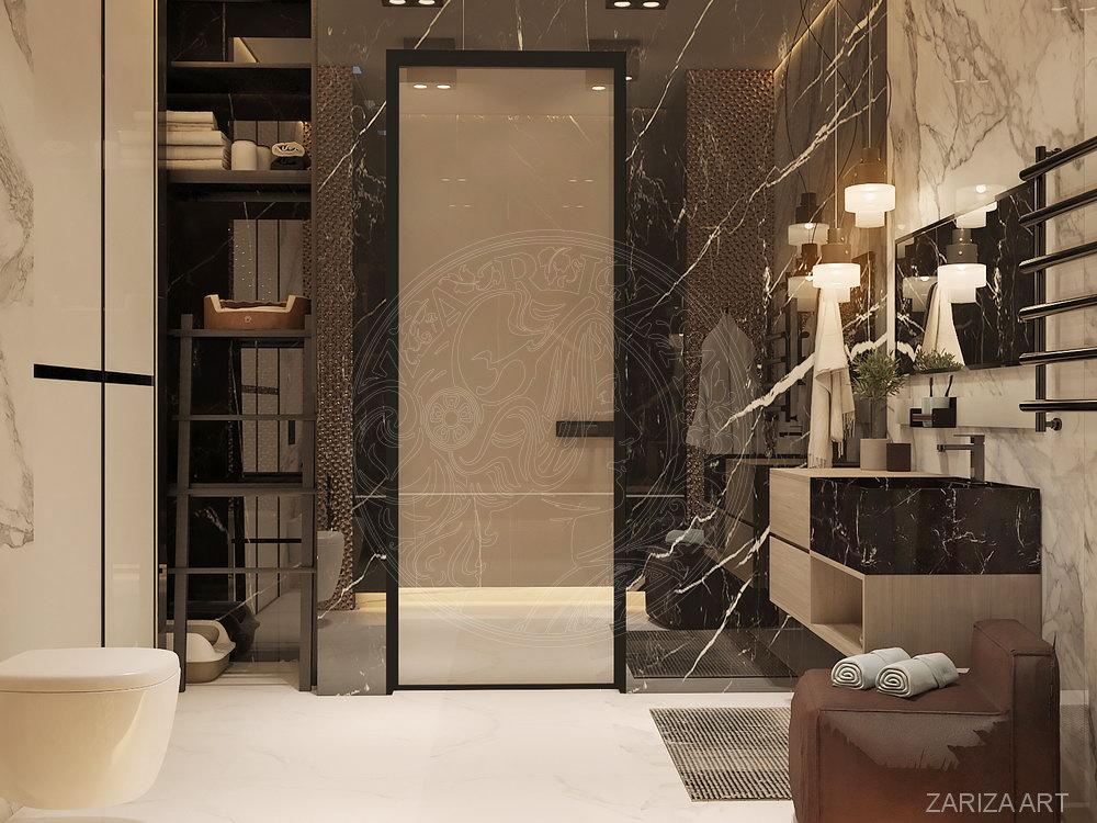 ванная с плиткой под мрамор