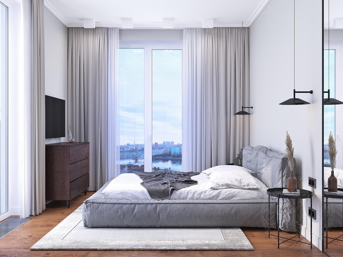 вид на окно в пол в спальне